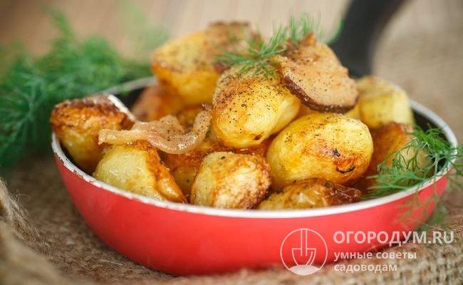 Картофель «Беллароза» по отзывам лучше всего проявляет свои вкусовые качества при обжаривании, хорошо подходит для приготовления и других блюд – салатов, супов, пюре