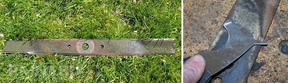Очистка ножа газонокосилки