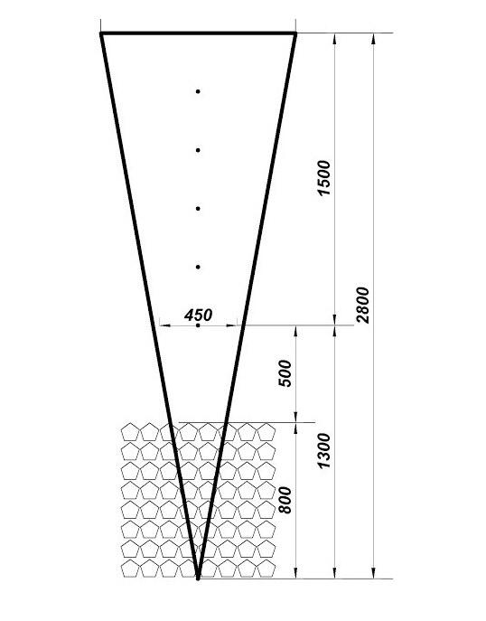 Треугольная опора для двухплоскостной перголы