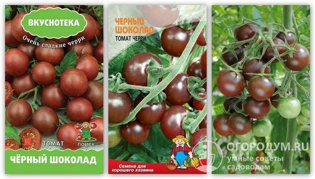 Упаковки семян «Черный шоколад» и фотография помидоров этого сорта